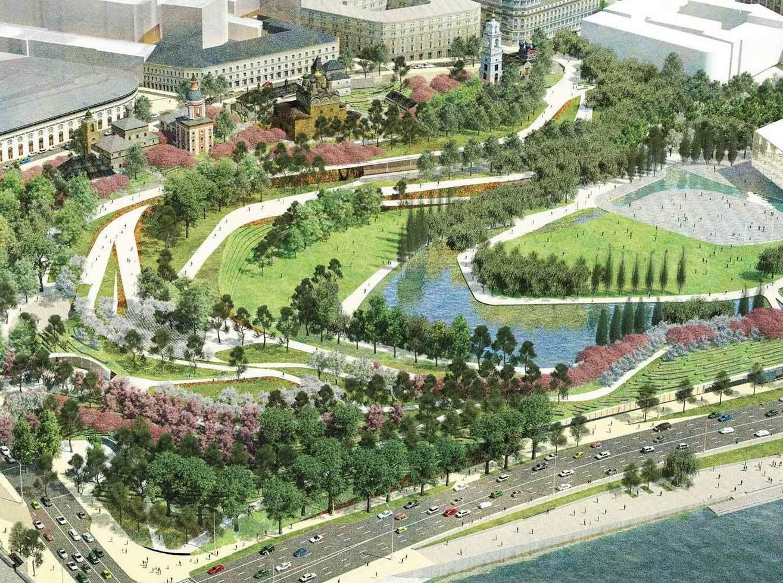 Парк в Зарядье обещают построить до конца 2016 года