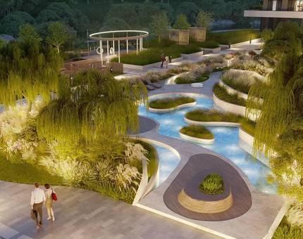 На территории клубного дома «Река» появится двор-оазис с водным садом - Фото
